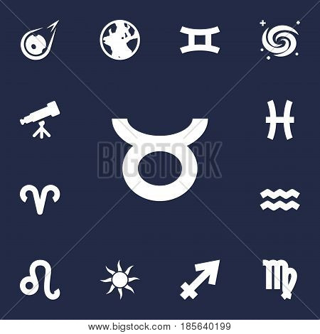 Set Of 13 Galaxy Icons Set.Collection Of Water Bearer, Fishes, Binoculars And Other Elements.