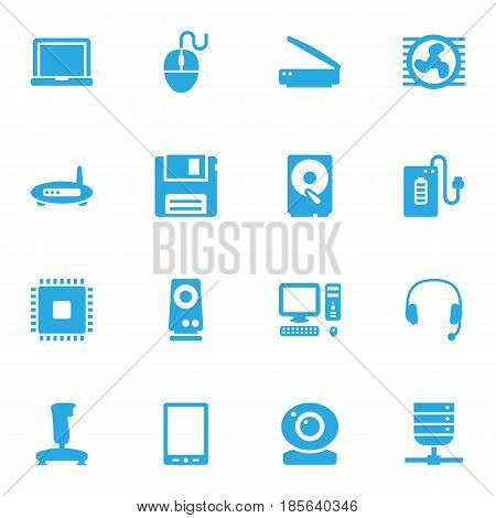 Set Of 16 Laptop Icons Set.Collection Of Control Device, Datacenter, Headset And Other Elements.