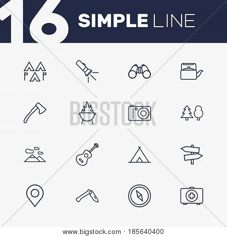 Set Of 16 Outdoor Outline Icons Set.Collection Of Guidepost, Compass, Ax And Other Elements.