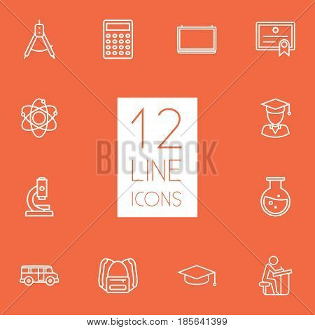 Set Of 12 Science Outline Icons Set.Collection Of Calculator, Pupil, Backpack And Other Elements.