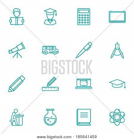 Set Of 16 Science Outline Icons Set.Collection Of School Board, Laptop, Bus And Other Elements.