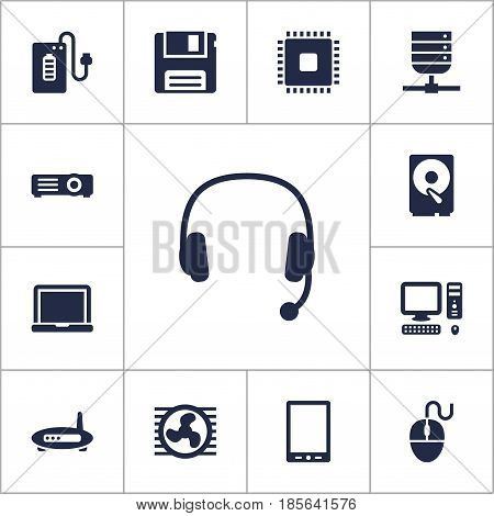 Set Of 13 Computer Icons Set.Collection Of Control Device, Microprocessor, Diskette And Other Elements.