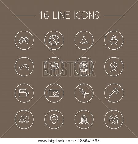 Set Of 16 Outdoor Outline Icons Set.Collection Of Baggage, Guidepost, Forest And Other Elements.