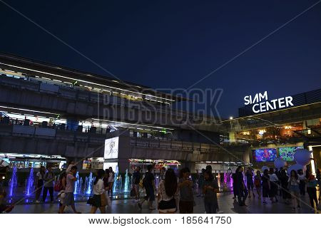 BANGKOK THAILAND- MAY 1 2017: Skytrain near Siam center shopping mall in twilight time.This is one of the biggest shopping center in Asia. It includes a wide range of specialty stores and restaurants.