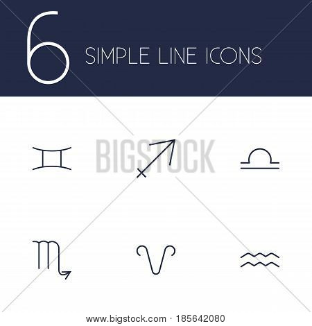 Set Of 6 Astrology Outline Icons Set.Collection Of Libra, Gemini, Aries And Other Elements.