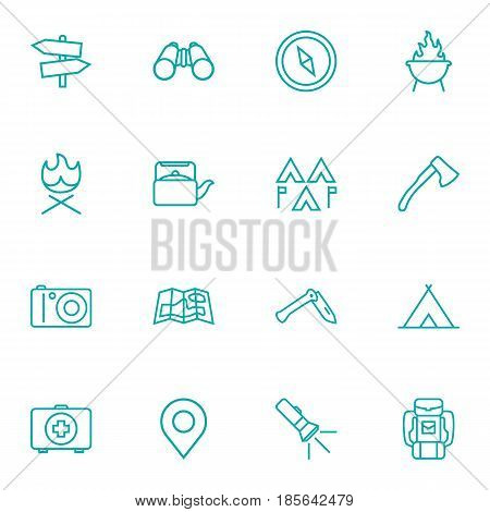 Set Of 16 Adventure Outline Icons Set.Collection Of Ax, Penknife, Place Pointer And Other Elements.