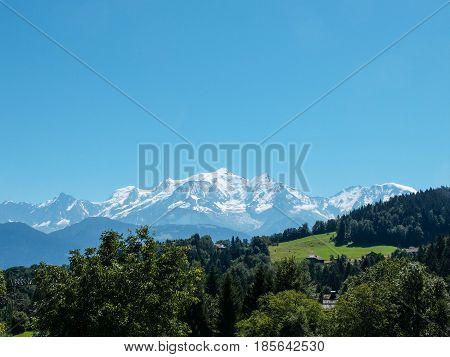 The Mont-blanc from Cordon in the french alps, France