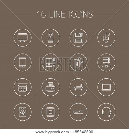 Set Of 16 Laptop Outline Icons Set.Collection Of Headphone, Monitor, Printer And Other Elements.