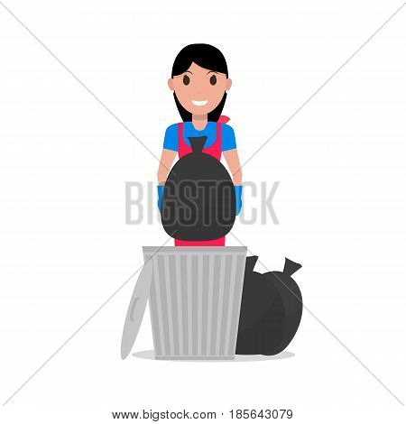 Vector illustration of a cartoon girl takes out a bag of garbage. Isolated white background. Woman with a garbage can and trash. Flat style. Concept of a business cleaning service.