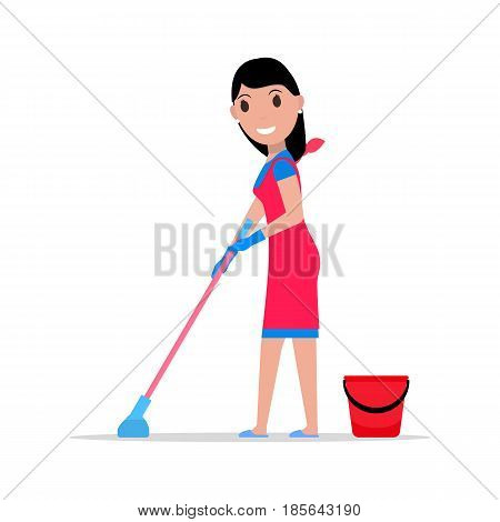 Vector illustration of a cartoon girl with a mop and a bucket washes the floors. Isolated white background. Flat style. Concept of a business cleaning service.