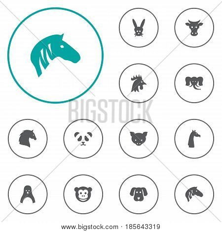 Set Of 12 Beast Icons Set.Collection Of Steed, Rooster, Bunny And Other Elements.