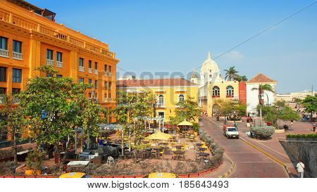 Cartagena de Indias, Bolivar / Colombia - April 10 2016: Activity in the historic center of the port city. Cartagena's colonial walled city and fortress were designated a UNESCO World Heritage Site