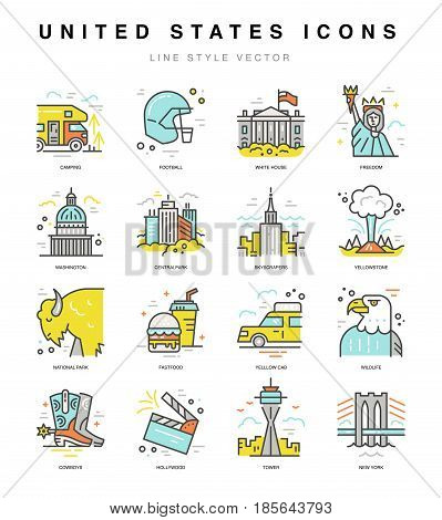 USA icons. Travel to United States symbols in line style vector.