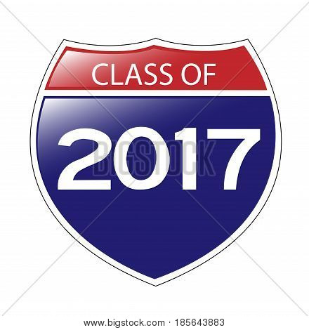 Class of 2017 USA Interstate Sign with reflection.