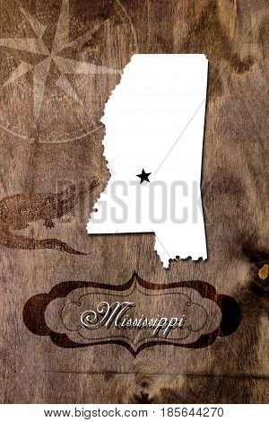 Poster Mississippi state map outline. Styling for tourism.