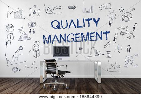 QUALITY MANAGEMENT | Desk in an office with symbols. 3d Rendering.