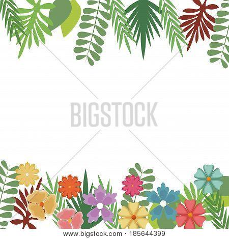flowers foliate border with leaves blossom garden design vector illustration