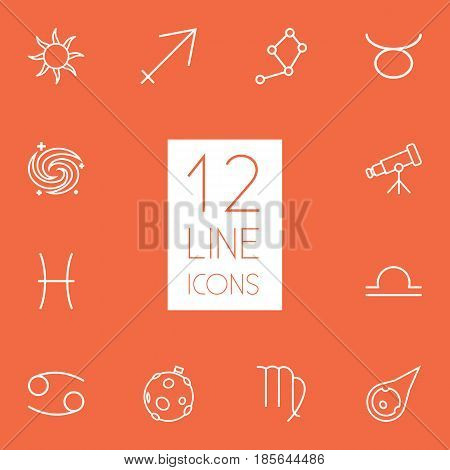 Set Of 12 Astrology Outline Icons Set.Collection Of Constellation, Galaxy, Asteroid And Other Elements.