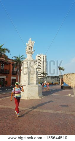 Cartagena de Indias, Bolivar / Colombia - April 10 2016: Christopher Columbus monument in the Plaza de la Aduana in the historic center of Cartagena de Indias. This statue was inaugurated in 1894