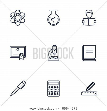 Set Of 9 Studies Outline Icons Set.Collection Of Diploma, Learning, Encyclopedia And Other Elements.