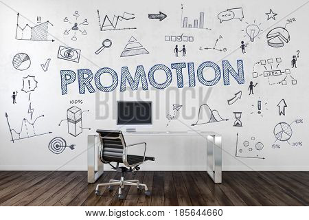 PROMOTION | Desk in an office with symbols. 3d Rendering.