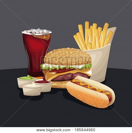 burger hot dog french fries soda sauces fast food eating vector illustration