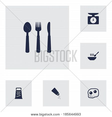 Set Of 6 Cooking Icons Set.Collection Of Silverware, Eggs, Weighing Machine And Other Elements.