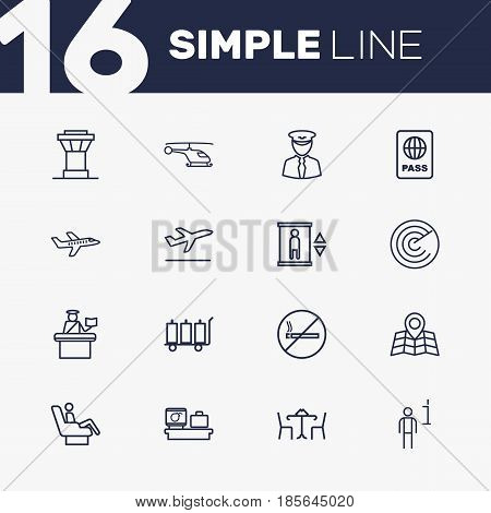 Set Of 16 Land Outline Icons Set.Collection Of Business Class, Detection, Plane And Other Elements.