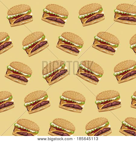 hamburger fast food delicious seamless pattern desing vector illustration