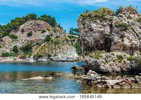 Lagoon at Isola Bella, also known as The Pearl of the Ionian Sea, a small island close to Taormina, Sicily, southern Italy