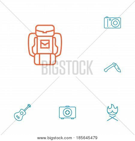 Set Of 6 Adventure Outline Icons Set.Collection Of Penknife, Medical Kit, Photographing And Other Elements.