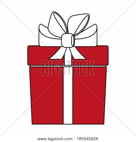 color silhouette cartoon giftbox with wrapping bow vector illustration