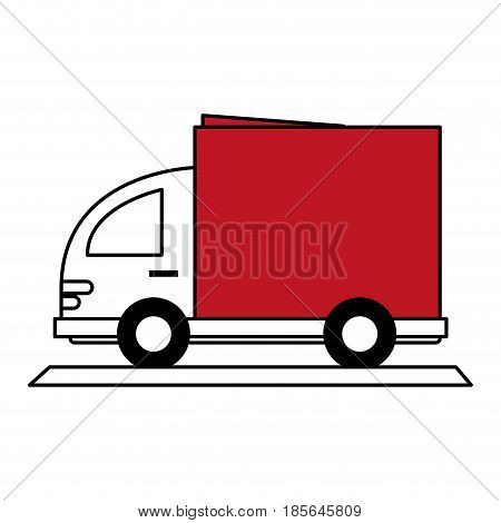 color silhouette cartoon small transport truck with red wagon vector illustration