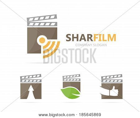 Vector of clapperboard and wifi logo combination. Cinema and signal symbol or icon. Unique video and radio, internet logotype design template.