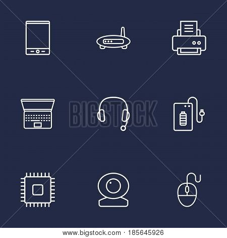 Set Of 9 Notebook Outline Icons Set.Collection Of Headphone, Powerbank, Computer Mouse And Other Elements.