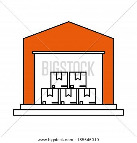 color silhouette cartoon orange storage cellar with multiple package vector illustration