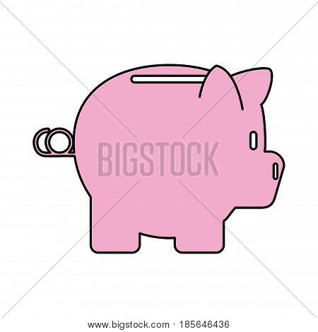 color contour cartoon side view pink piggy bank vector illustration