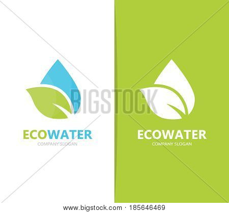 Vector of oil and leaf logo combination. Drop and eco symbol or icon. Unique organic water and aqua logotype design template.