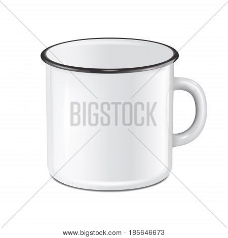 Vector illustration of realistic enamel metal white mug isolated on white background. EPS10 design template for Mock up.