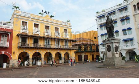 Cartagena de Indias, Bolivar / Colombia - April 10 2016: Activity in Plaza de los Coches in the historical center. Cartagena's colonial walled city was designated a UNESCO World Heritage Site