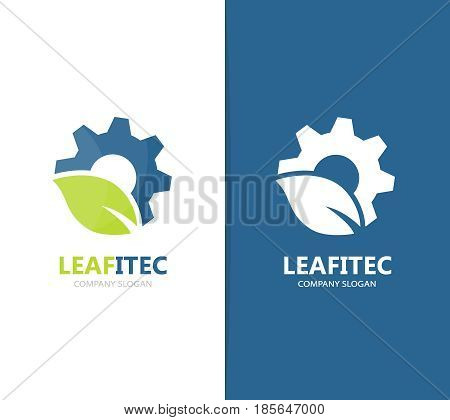 Vector of gear and leaf logo combination. Mechanic and eco symbol or icon. Unique organic factory and industrial logotype design template.