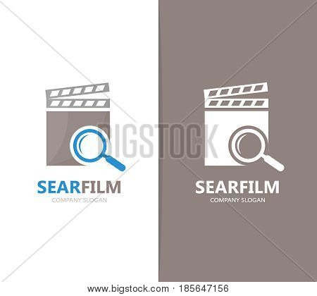 Vector of clapperboard and loupe logo combination. Cinema and magnifying glass symbol or icon. Unique video and search logotype design template.