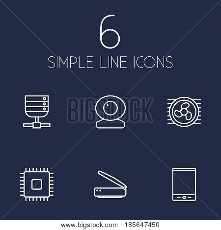 Set Of 6 Notebook Outline Icons Set.Collection Of Cpu, Cooler, Tablet And Other Elements.