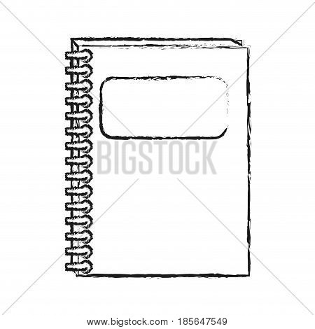 blurred silhouette cartoon notebook spiral closed with label in cover vector illustration