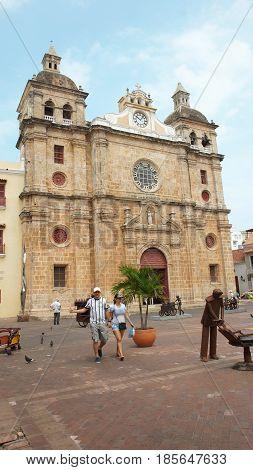 Cartagena de Indias, Bolivar / Colombia - April 10 2016: San Pedro Claver church. It was built between 1580 and 1654. Cartagena's colonial walled city was designated a UNESCO World Heritage Site