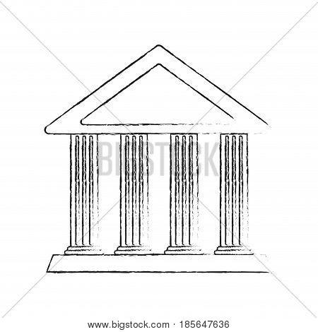 blurred silhouette cartoon skecth parthenon architecture icon vector illustration