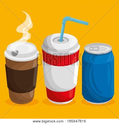 A cup of hot coffee, a soda can and cup of soda with straw over orange background. Vector illuistration.