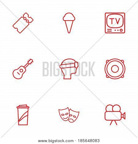 Set Of 9 Amusement Outline Icons Set.Collection Of Vr Helmet, Ticket, Tv Set And Other Elements.