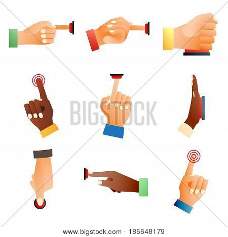 Hand press red button finger press icon control start up push pointer cursor target gesture internet human body part vector illustration. Touch concept one click connection choosing element.