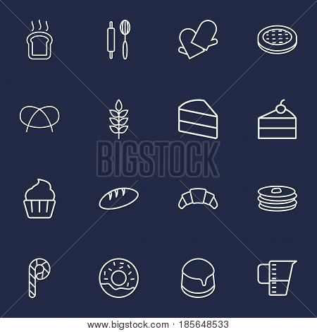Set Of 16 Oven Outline Icons Set.Collection Of Pancakes, Cheesecake, Apple Pie And Other Elements.